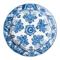 Large Antique 18th-Century Dutch Delft Floral Plate
