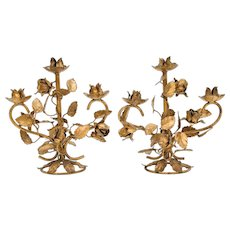 Italian Florentine Tole Gilt Roses Candleabras, a Pair