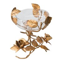 Italian Florentine Tole Gilt Roses Compote Bowl