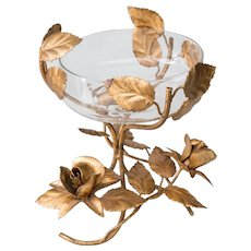 Italian Florentine Tole Gilt Roses Compote Bowl