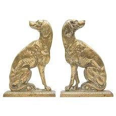 Large Antique English Brass Fireside Mantel Dogs, a Pair