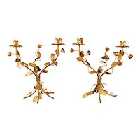Italian Florentine Tole Gilt Candleabras, a Pair