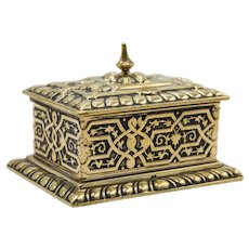 Antique English Brass Stamp Box