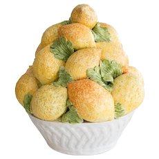 Vintage Italian Majolica Lemons Basket Centerpiece