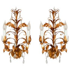 Vintage Italian Gilt Tole & Crystal Light Sconces, a Pair