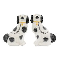 Antique English Staffordshire Spaniel Dogs, a Pair