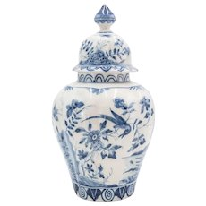 Large Antique Dutch Delft Chinoiserie Lidded Bird Vase