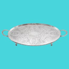 English Viners Silver Footed Tray With Handles