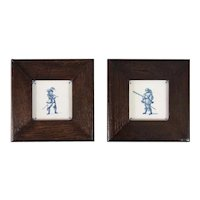 Antique 19th Century Dutch Delft Framed Cavalier Tiles, Set of 2