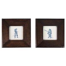 Antique 19th Century Dutch Delft Framed Cavalier Tiles, Set of 2