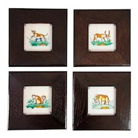 Antique Dutch Delft Framed Polychrome Animal Tiles, Set of 4