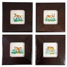 Antique Dutch Delft Framed Polychrome Animal Tiles, Set of 4