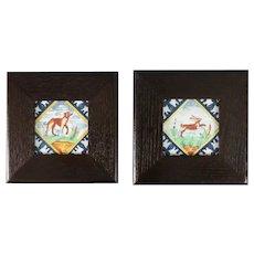 Vintage Dutch Delft Framed Polychrome Animal Tiles, Set of 2