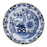 Antique 19th C. Dutch Delft Floral Charger