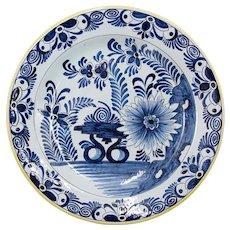 Antique 19th C. Dutch Delft Floral Charger