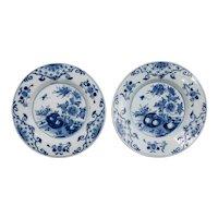 Antique 18th-Century Delft Dutch Chinoiserie Floral Plates, a Pair
