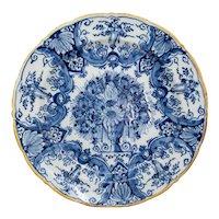 Antique 18th-Century Dutch Delft Faience Floral Charger
