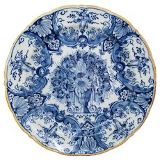 Antique 18th-Century Dutch Delft Faience Floral Charger