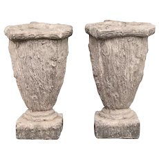Large French Faux Bois Jardinieres Planters, a Pair