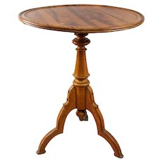 Antique French Elm Round Tripod Side Table