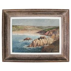 Vintage French Impressionist Seascape Oil Painting