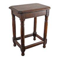 Antique English Beveled Tiger Oak Joint Stool Side Table