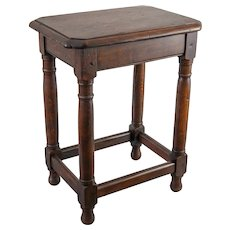 Antique English Beveled Tiger Oak Joint Stool Side Table