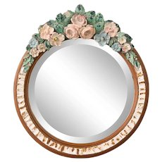 Antique English Barbola Dressing Mirror