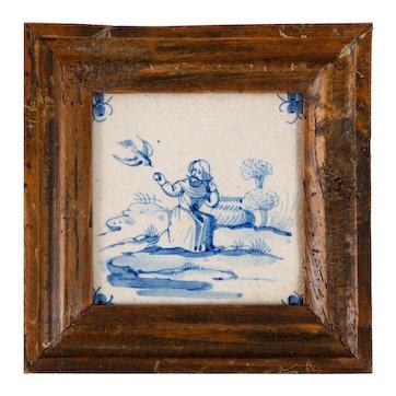Antique 18th Century Dutch Delft Framed Biblical Tile