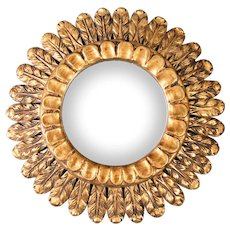 Mid Century French Gilt Wood Sunburst Mirror