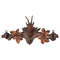Antique 19th Century Swiss Black Forest Chamois Hanging Rack Hooks