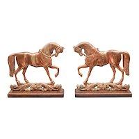 Antique English Copper Equestrian Horse Mantel Ornaments, a Pair