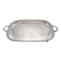 Large Vintage Silver Plate Footed Gallery Tray