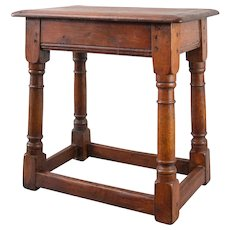 Antique English Oak Joint Stool Beverage Table