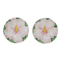 Vintage Italian Majolica Pink Floral Plates, a Pair
