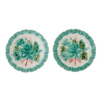 Antique French Sarreguemines Majolica Grape Leaf Plates, a Pair