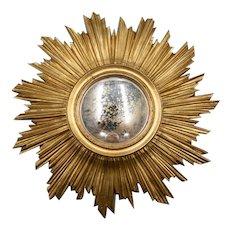 Vintage French Gilt Sunburst Convex Mirror