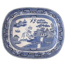 Large Antique English Staffordshire Blue Willow Platter