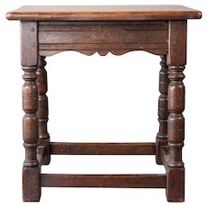 Antique 19th Century English Oak Joint Stool