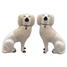 Antique English Staffordshire Poodles Dogs Figurines - a Pair