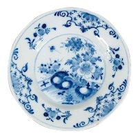 Antique 18th-Century Delft Dutch Chinoiserie Floral Plate