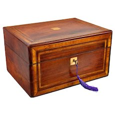 19th-Century English Banded Mahogany Box With Secret Drawer, Lock & Key