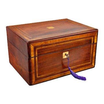 19th-Century English Banded Mahogany Box With Secret Drawer, Lock & Key