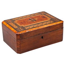 Antique English Elm & Birdseye Maple Inlaid Box