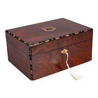 19th-Century English Rosewood & Mother of Pearl Box, Lock & Key