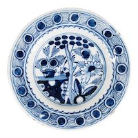 18th-Century Antique Dutch Delft Floral Plate