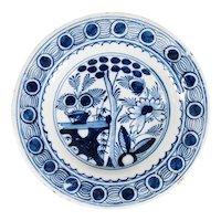 18th-Century Antique Dutch Delft Floral Plate