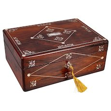 Antique English Rosewood Vanity Box With Sterling Silver Contents, Lock & Key