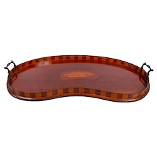 Antique English Kidney Shaped Mahogany Serving Tray