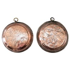 Large Antique English Georgian Copper Wall Sieves, a Pair